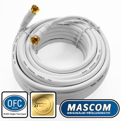 7676-100W Koaxiální satelitní kabel, F-F konektor, 10m, bílý  - 1