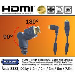 HDMI A-HDMI A, otočné konektory, délka 7,5m  - 1