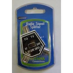 Radio Splitter, Coax Plug - 2x Coax Sockets