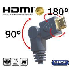 HDMI A-HDMI A, otočné konektory, délka 7,5m  - 2