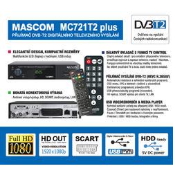 MC721T2PLUS, přijímač DVB-T2 HEVC se dvěma ovladači.  - 2