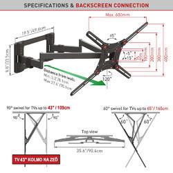 """Barkan 464L - 4 pohybový prodloužený do 600x400mm, pro TV 13""""-90"""" (33-229cm), do 60kg  - 2"""