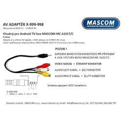 9999-998 JACK - 3AV CINCH kabel  (0,2m) vhodný pro MASCOM MC A101T/C  - 2