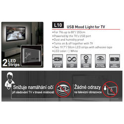 USB LED osvětlení pro televizory, bílé  - 3