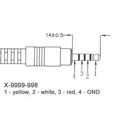 9999-998 JACK - 3AV CINCH kabel  (0,2m) vhodný pro MASCOM MC A101T/C  - 3