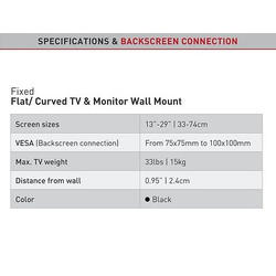 "Barkan 100- Fixní do 100x100mm, pro TV 13""-29"" (33-74cm), do 15kg  - 4"