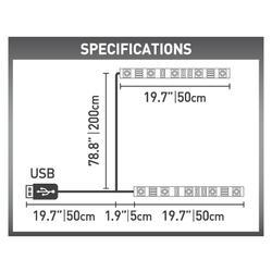 USB LED osvětlení pro televizory, bílé  - 4