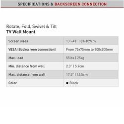 "Barkan 2400.B - 4 pohybový do 200x200mm, pro TV 13""-39"" (33-99cm), do 25kg  - 4"