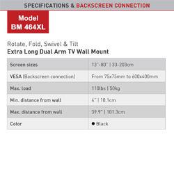 """Barkan 464XL - 4 pohybový extra prodloužený do 600x400mm, pro TV 13""""-80"""" (33-203cm), do 50kg  - 4"""