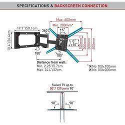 """Barkan 4400 - 4 pohybový prodloužený do 600x400mm, pro TV 4""""0-80"""" (101-203cm), do 50kg  - 5"""