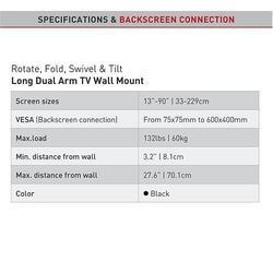 """Barkan 464L - 4 pohybový prodloužený do 600x400mm, pro TV 13""""-90"""" (33-229cm), do 60kg  - 5"""