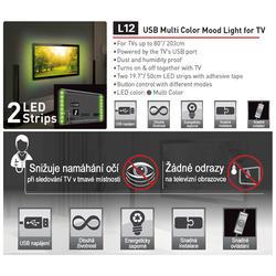 USB LED osvětlení pro televizory, barevné  - 6