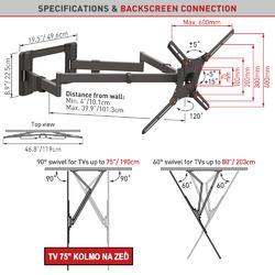 """Barkan 464XL - 4 pohybový extra prodloužený do 600x400mm, pro TV 13""""-80"""" (33-203cm), do 50kg  - 6"""